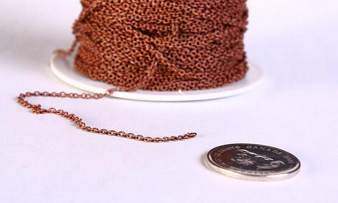 2mm x 1.5mm antique copper cable cross chain - 10 feet (623)