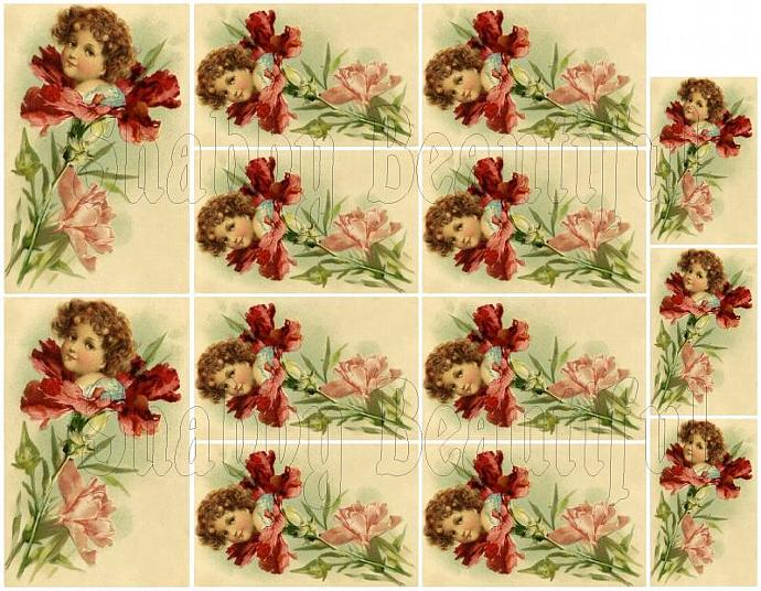 Shabby chic catalog digital Pretty girl in a flower  collage sheets for