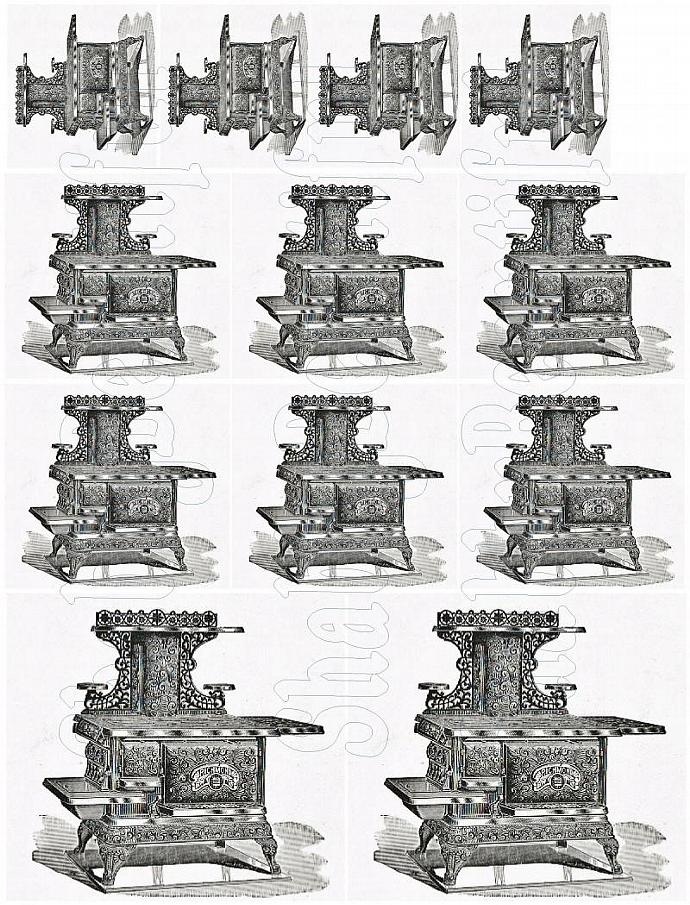 Shabby chic Vintage Cast iron stove  digital collage sheets for scrapbook and