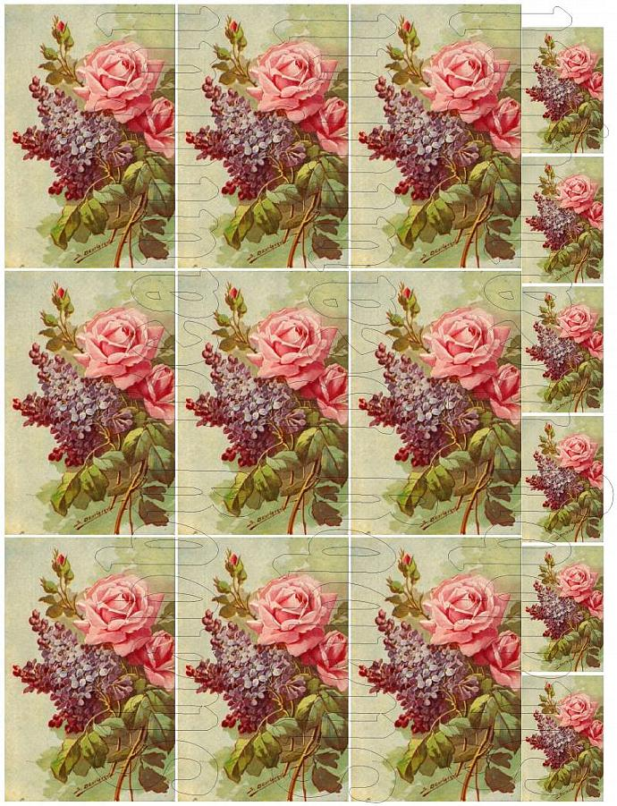Shabby chic pink and purple flowers   digital collage sheets for scrapbook and