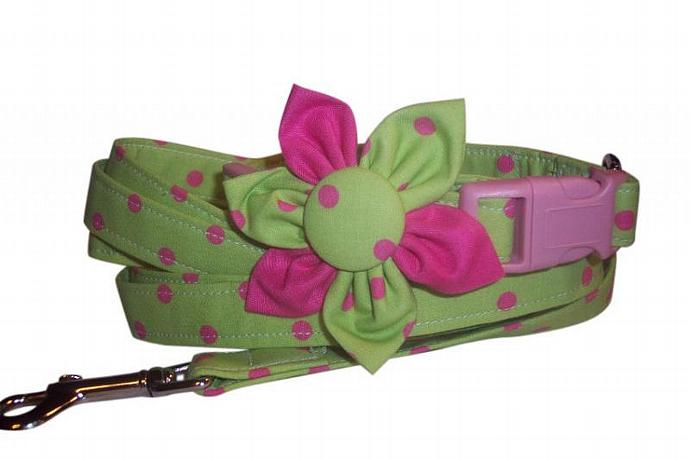 Lime Green Hot Pink Polka Dots  Collar Blossom Fabric Flower and Matching 4 ft
