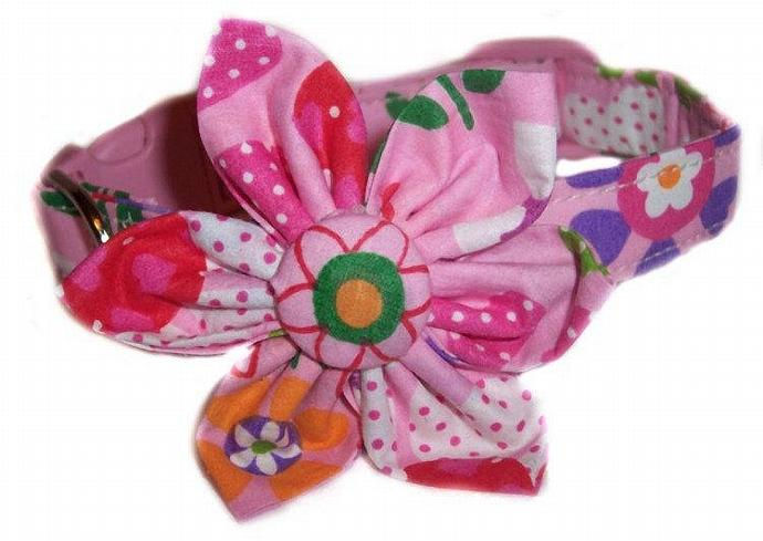 Pink Flower Power Blossom Flower dog cat puppy pet collar