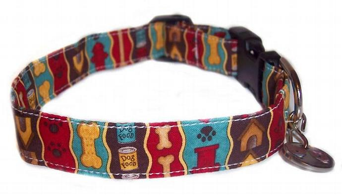 Pampered Poochies dog bones houses whimsical fun print dog cat pet puppy collar