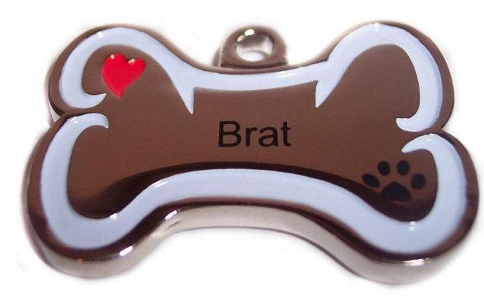 ID Tag Brat Pet Personality Pendant Bone shaped solid stainless steel ID tag