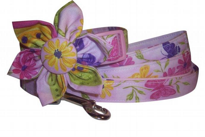 Lilac Pink Florals Butterfiles Collar Blossom Fabric Flower and Matching 4 ft