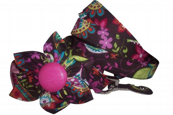 CHOOSE YOUR FABRIC Custom Made collar with blossom flower and leash set xs sm