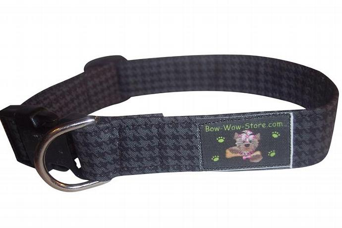 Black Houndstooth dog cat pet puppy collar xs sm med lg xl custom made all sizes