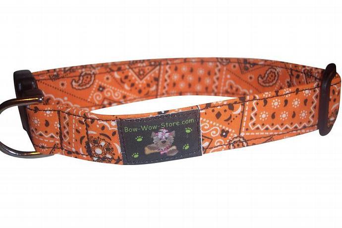 Bright Orange Bandana western dog cat pet puppy collar xs sm med lg xl custom