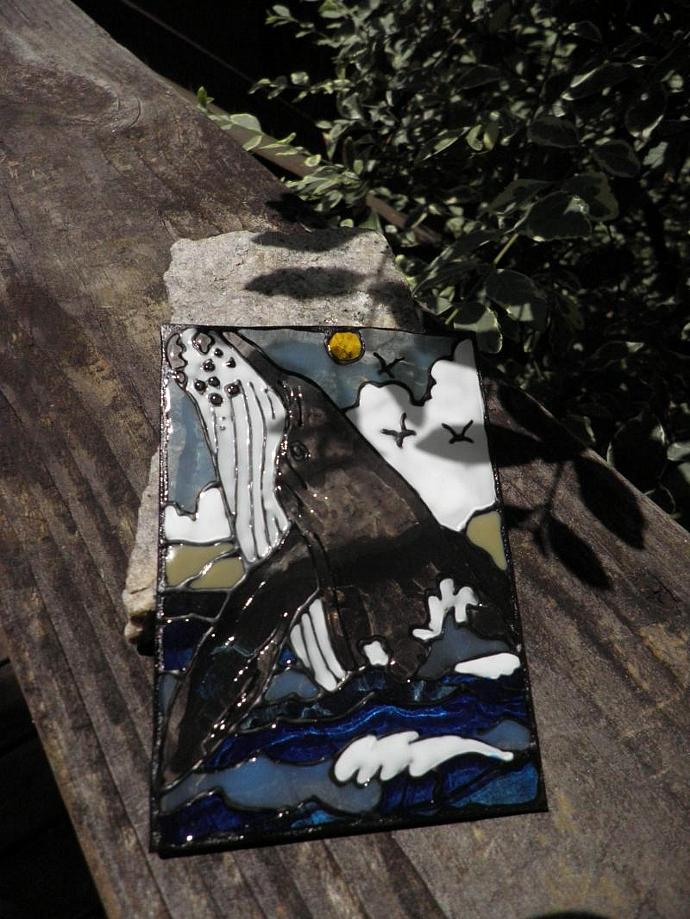 Original ACEO whale breeching simulated stained glass mini art