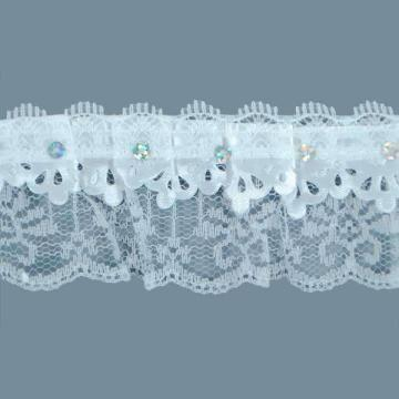 2 yards  Sequin Perforated Ruffled Lace  Trim - White TR16