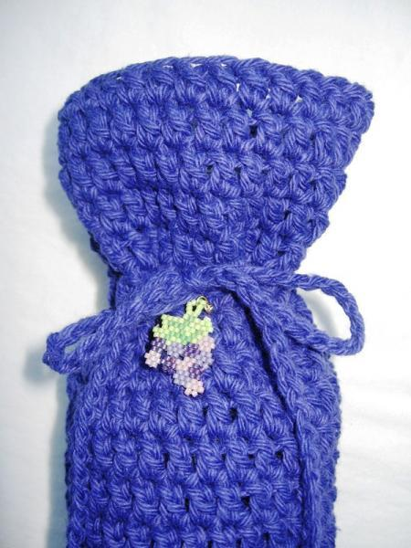 Purple Crochet Wine Bottle Bag with Grape Cluster Charm