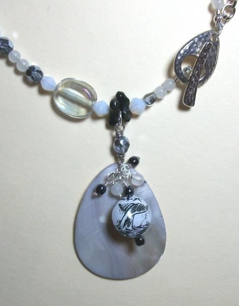 OOAK Moby Dick Inspired Necklace and Dangle Earrings with Mother of Pearl