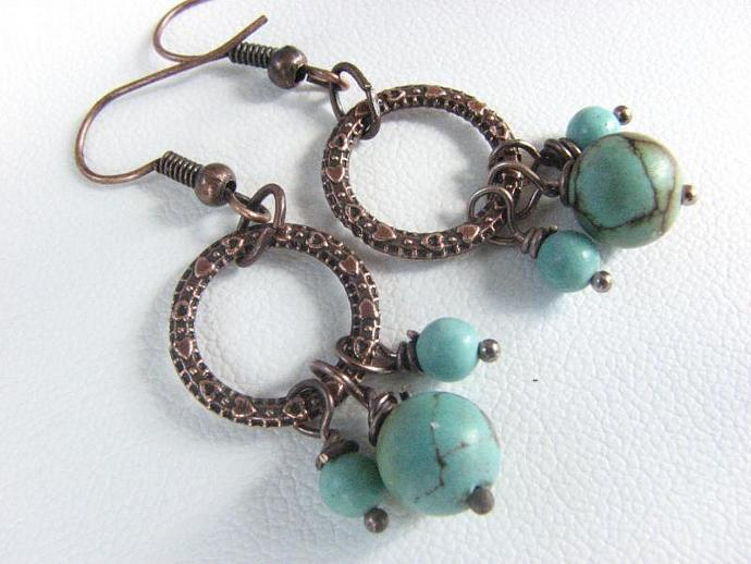 Turquoise Bead Earrings - Vintage Repurposed Chalk Beads on Copper Hoops -