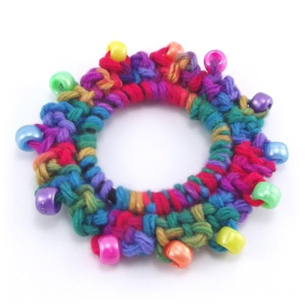 Color Splash Crocheted Beaded Hair Scrunchie Small