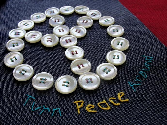 OOAK Upcycled Turn Peace Around Wall Hanging