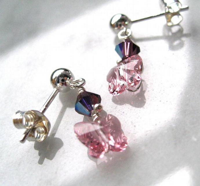 Pink and Lavender and Pink Butterfly Children's Earrings, Sterling Silver Posts,