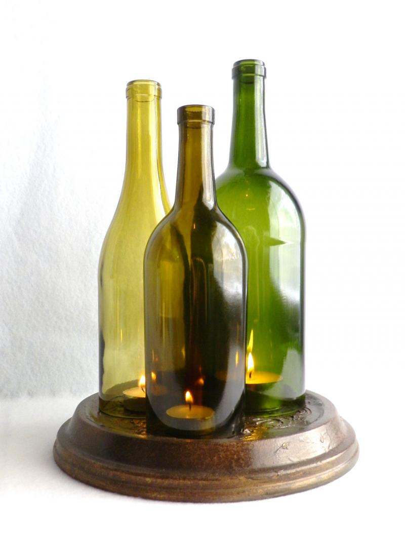 Triple wine bottle candle holder hurricane lamp by for How to preserve wine after opening bottle