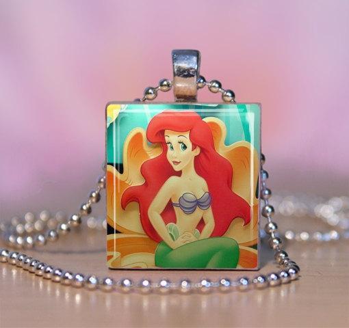 Little Mermaid Ariel Scrabble Tile Necklace