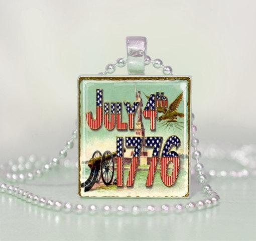 4th of July Patriotic 1776 Vintage Feel Upcycled Scrabble Tile Pendant Necklace