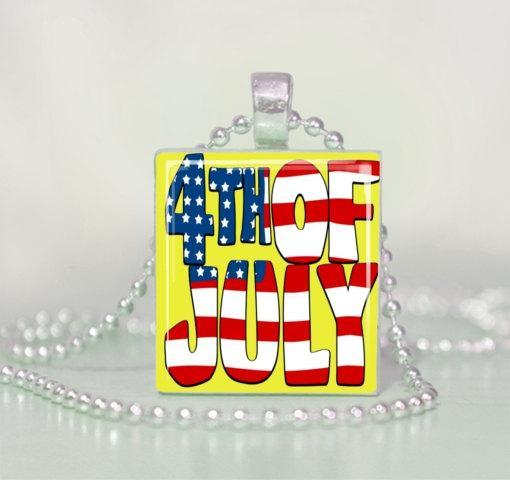 Fun 4th of July Patriotic Scrabble Tile Pendant Necklace