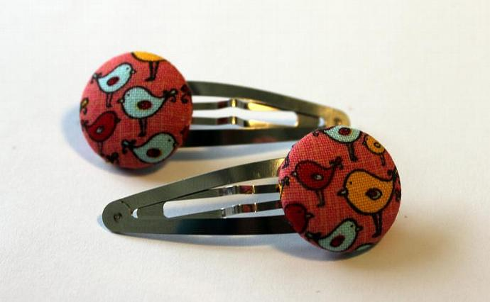 Two Button Snap Hair Clips Bird Pattern