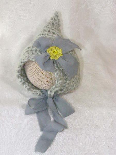 SALE Crochet Newborn Alpaca Grey Bonnet with Bow and Yellow Flower