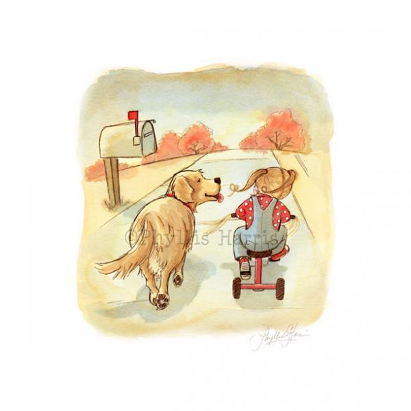 Children's Room Art Print - Golden Retriever and little girl art - Vintage