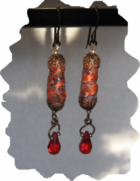 New Brass, Fiber Beads, Red Swarovski Crystal Drop