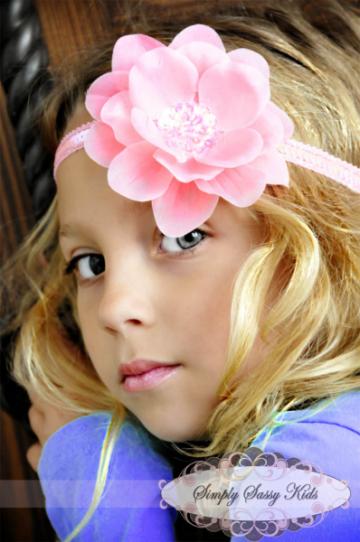 12 Skinny Sequin Stretch Headbands - ADD Flowers!