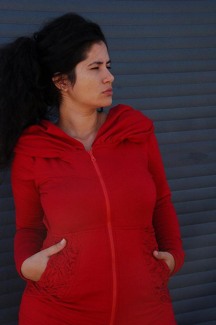 Long Cloak Hoodie Dress Jacket- DEEP RED