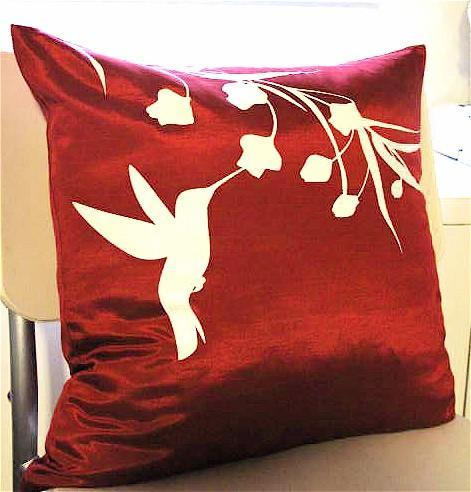 Red Hummingbird with Eucalyptus  16 inches Square Pillow