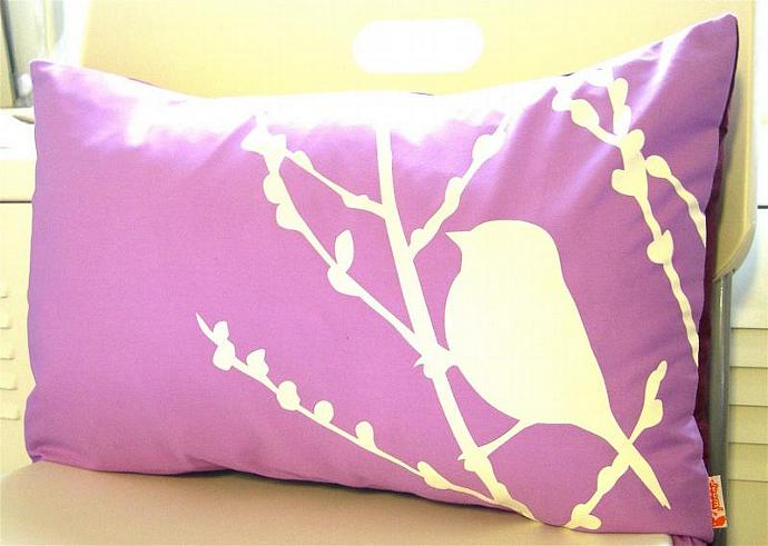 Lavender Bird on Cherry Blossom Pillow