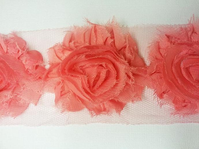 Peachy Pink Shabby Chiffon Flower Trim - 1 Yard