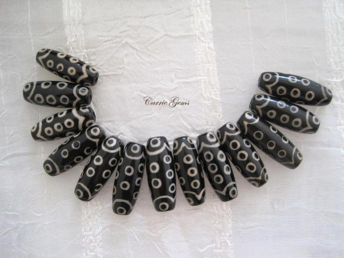 Tibetan Black and White Eye Agate Beads, 12mmx30mm, 1 pc