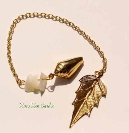 Pendulum for Reiki or Divination- Leaf & Seashell in Brass with Mother of Pearl