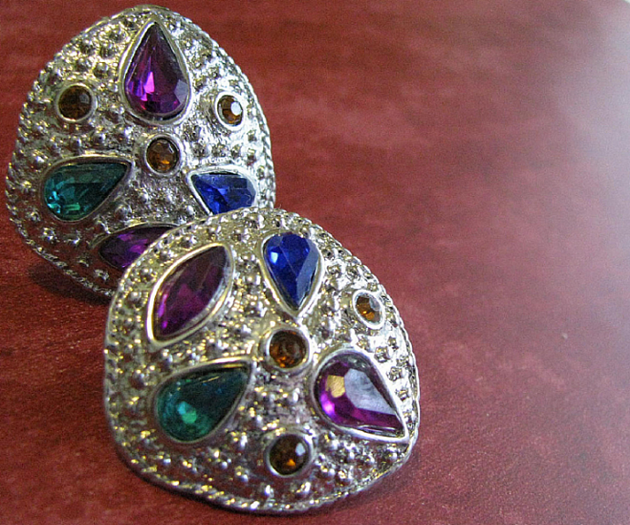 Mardi Gras Dazzle Clip Back Earrings 1950's Vintage Rhinestone Glamour