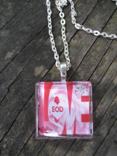 pink EOD LOVE Handcrafted Wearable EOD Art Jewelry necklace