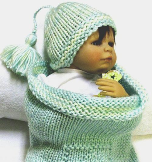 Knitting Pattern, Baby Cocoon & Matching Beanie, Cocoon is featured with ABC