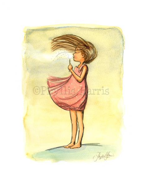 Kid's Wall Art Print - Every Breath is A Gift - Girl blowing a dandelion
