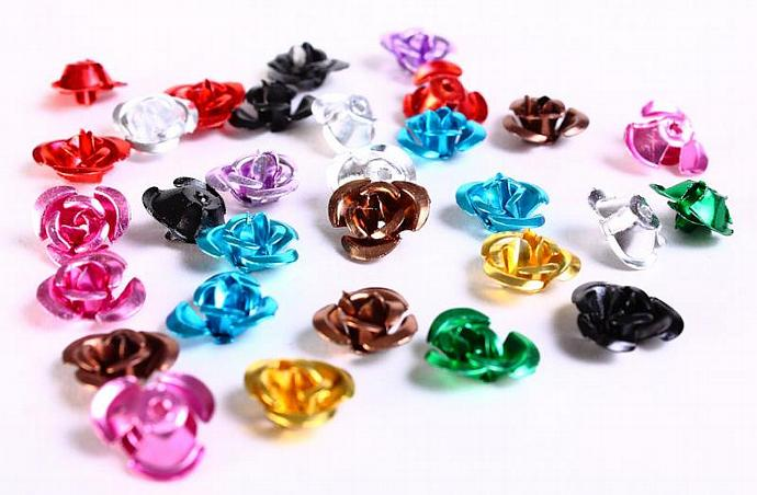 30 12mm mixed color rose flower aluminum cabochon bead 30pcs (690)