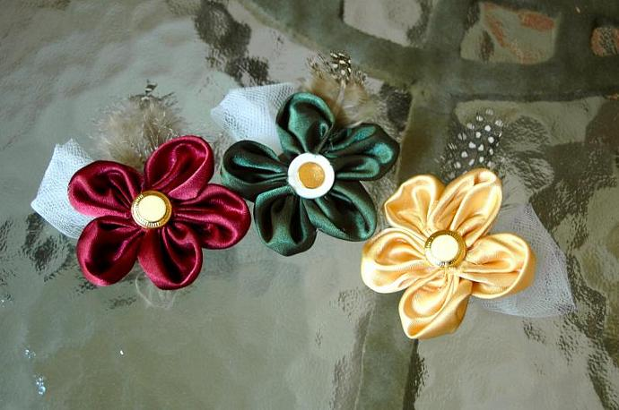 3 Small Satin Five Petal Fabric Flowers