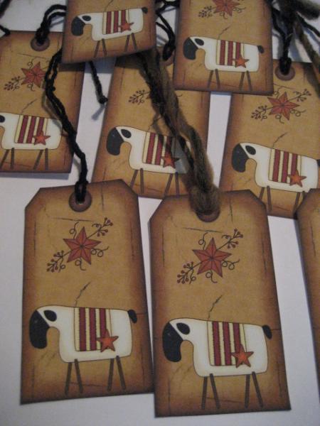 set of 10 Primitive Folk Art Fall Sheep Rusty Star Pip Berries gift tags Hang