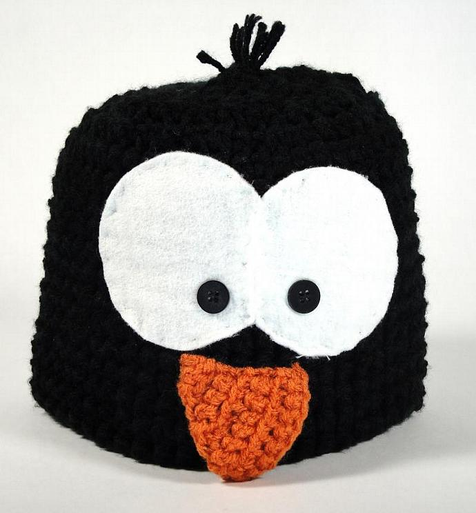 Polly the Penguin Critter Hat - MADE TO ORDER + Free Optional Fleece Lining