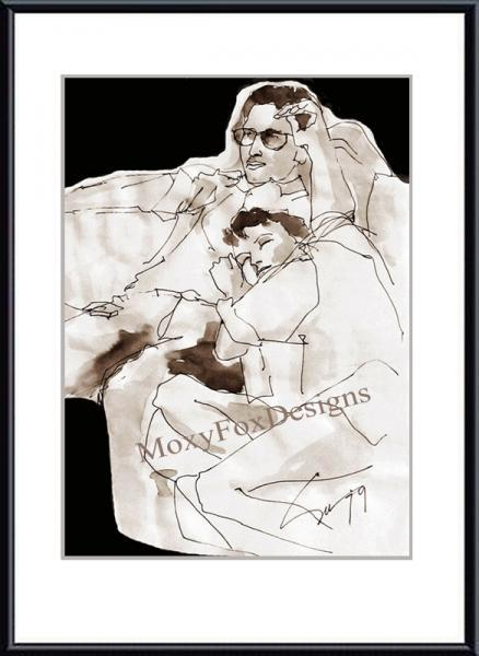 "Art -- ROMANTIC COUPLE ""Lazy Saturday Morning"" Fine Art Print Pen and Ink Wash,"