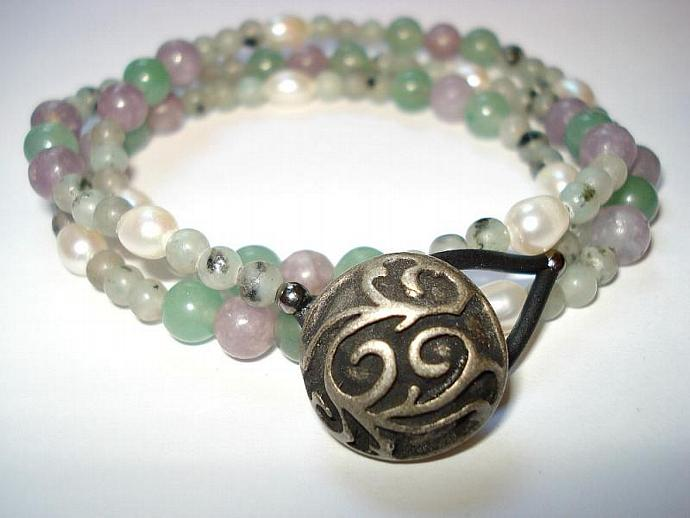 2 in 1 Wrap Bracelet  Pearls and Gems