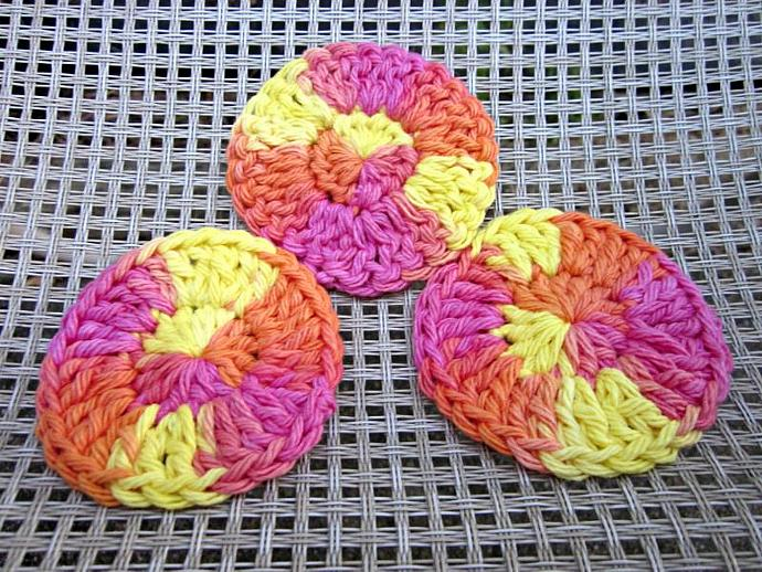 3 Bright Summery Cotton Face Scrubbies