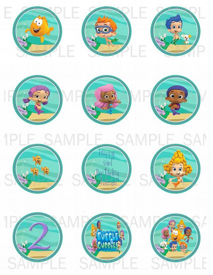 Printable Bubble Guppies Cupcake Toppers