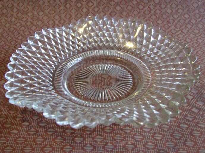 Diamond Point Ruffled Edge Antique Depression Glass Dish
