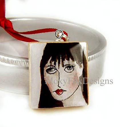 SCRABBLE TILE Necklace HAND PAINTED Watercolor Jane Austin, Pride and Prejudice