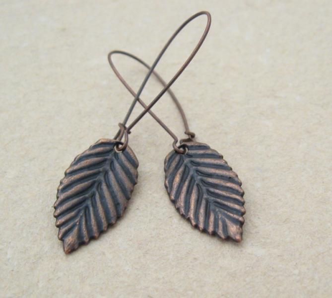 Copper Leaves: simple, birch leaf earrings on long ear-wires